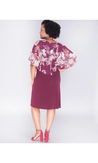 INDRE- Dress with Floral Chiffon Cape