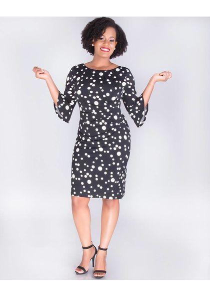INARA-Dot Print 3/4 Sleeve Dress