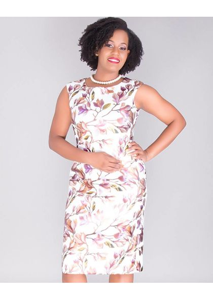 UTA-Floral Foil Print Cap Sleeve Dress