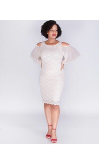 LAVERNE-Cold Shoulder Lace Dress with Chiffon Sleeves