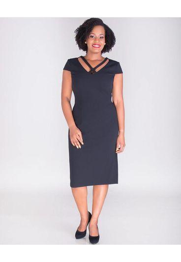 ROXANNE- X Style Cap Sleeve Crepe Dress