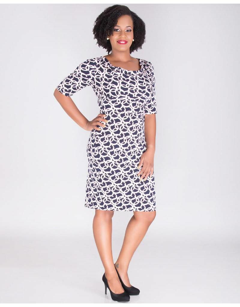 IMIZA-Cowl Neck Short Sleeve Dress