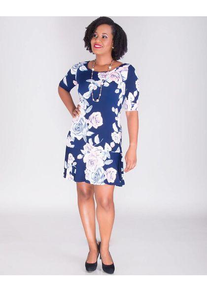ILMA-Rose Print Dress with Ruffle Hem