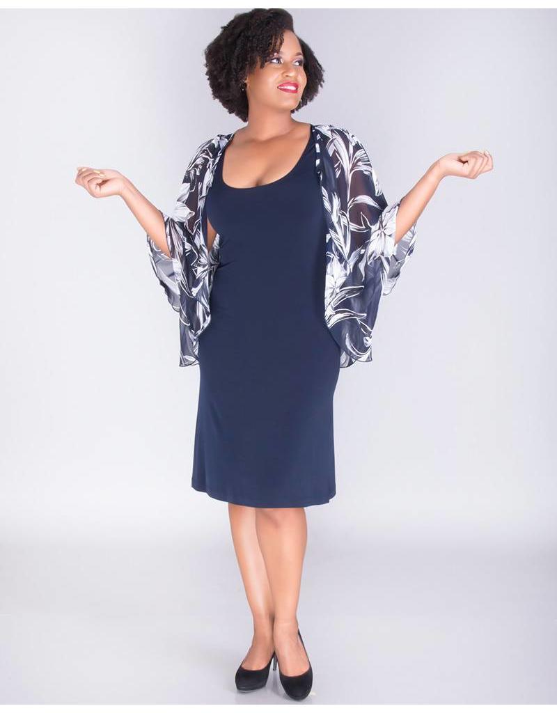 INBARA- Dress With Printed Chiffon Cape Jacket