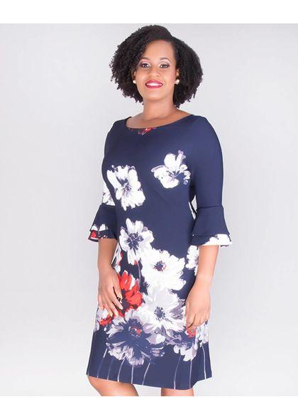 PANDARA- Floral 3/4 Flounce Sleeve Dress