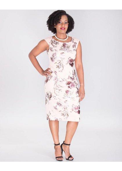 UTARIA- Floral Foil Print Cap Sleeve Dress