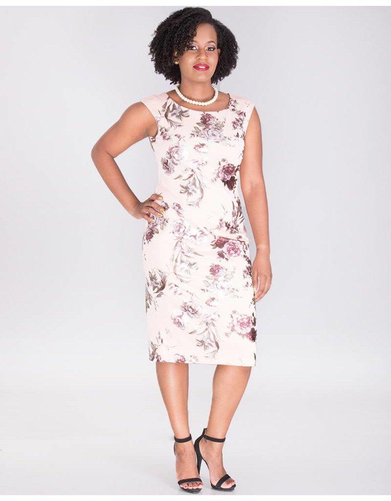 776cc133d998 UTARIA- Floral Foil Print Cap Sleeve Dress