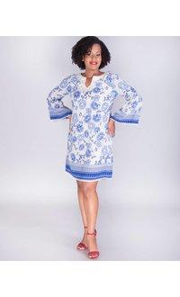 Falisha- Printed Chiffon Dress With Crochet Trim