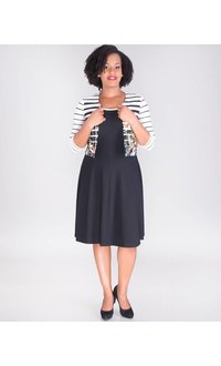 Signature BIJOU- 3/4 Sleeve Fit & Flare Jacket Dress