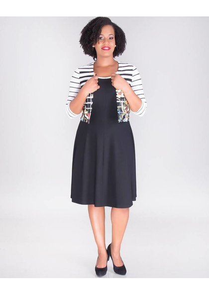 Signature BIJOU- 3/4 Sleeve Fit & Flare Jacket Dress