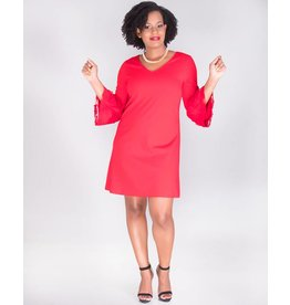 Signature RANJIR-V-Neck Crepe Dress With 3/4 Sleeves