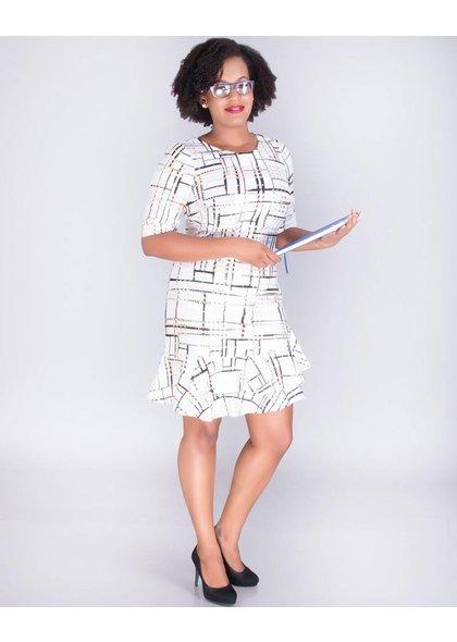 Signature BELVA-Foil Print Dress With Layered Hem