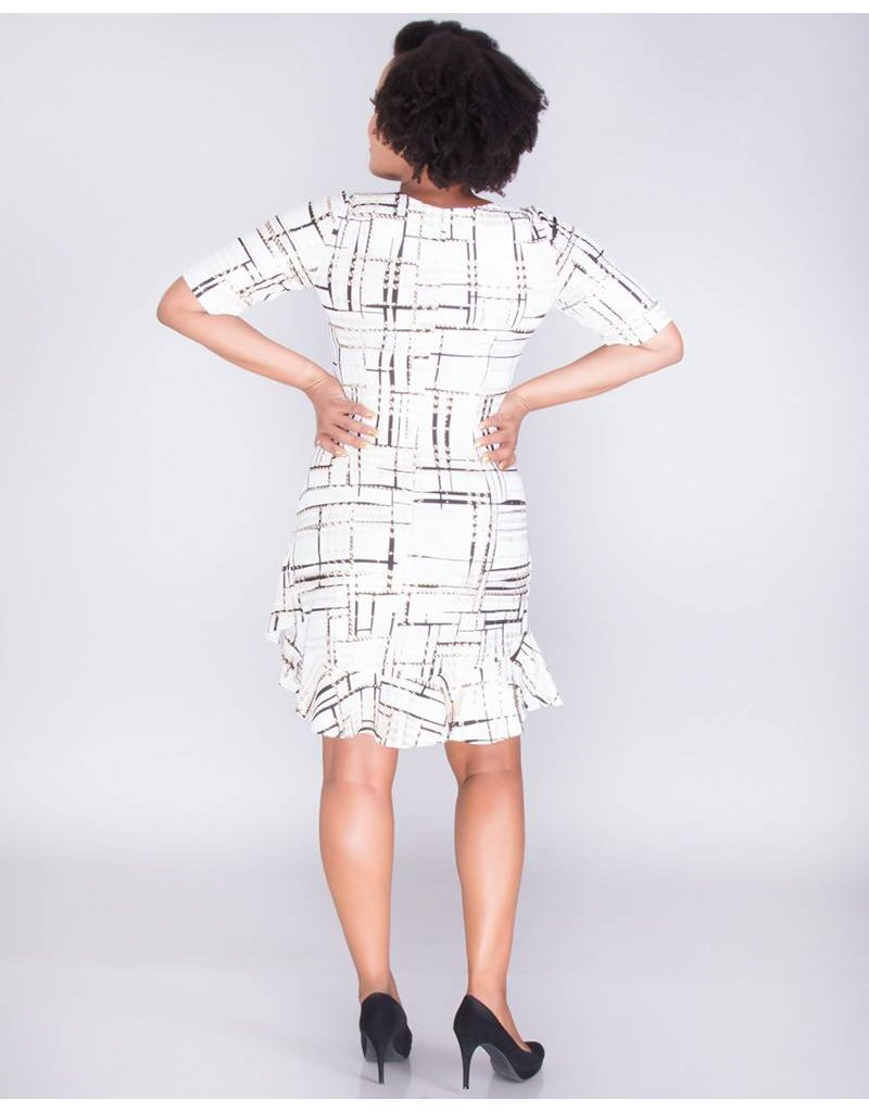 Signature BELVA-Foil Print Dress With Layered Hem