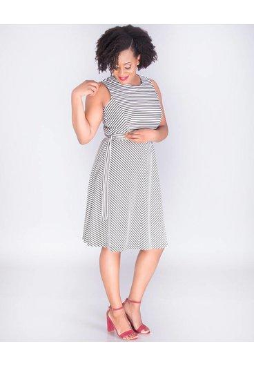 JALISA - Horizontal Stripe Fit & Flare Dress