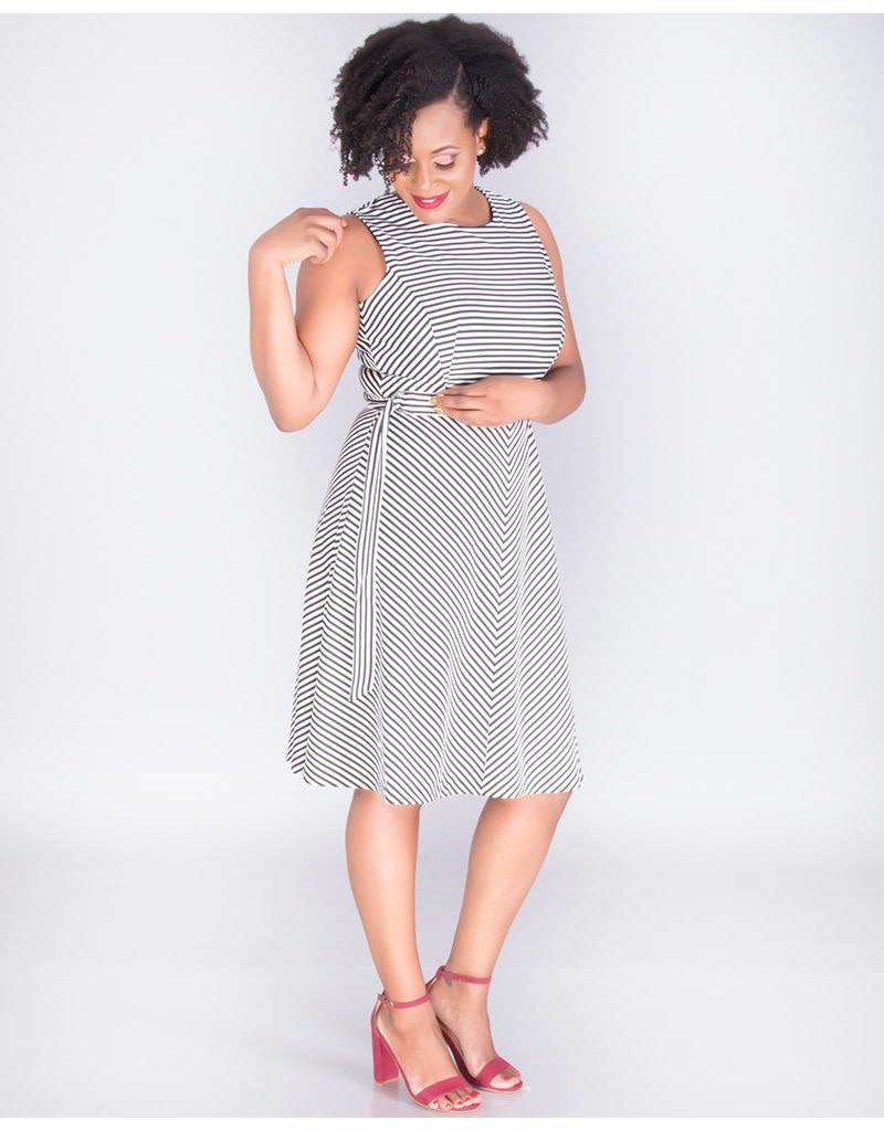 JALISA - Horizontal Stripe Fit & Flare Dress