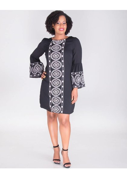KETURAH-Embroidered 3/4 Sleeve Cotton Dress