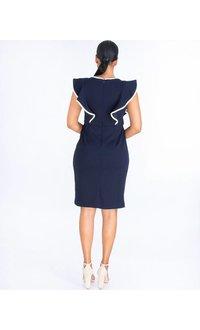 Shelby & Palmer RISHONA- Ruffle Detail Crepe Dress with Keyhole