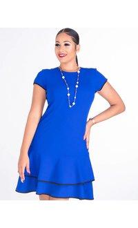 Shelby & Palmer ROMILLY-Short Sleeve Crepe Dress with Ruffle Hem