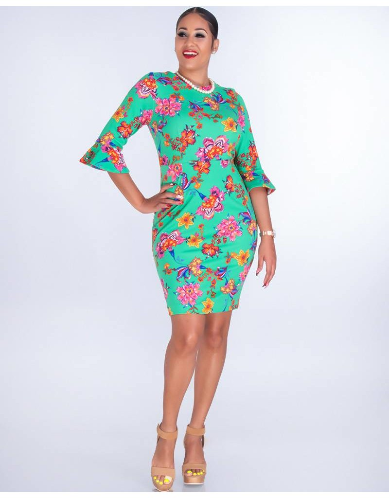 Shelby & Palmer RONALDA-Floral Crepe Dress with 3/4 Contrast Sleeves