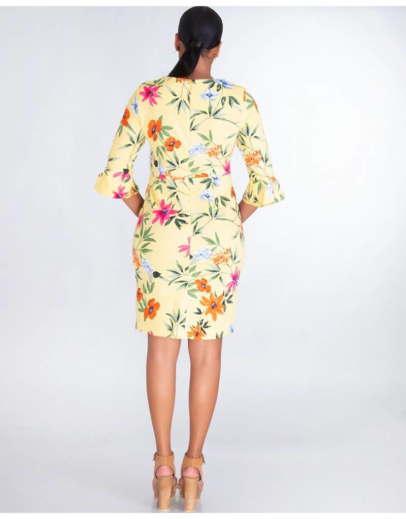 Shelby & Palmer BOBBIE- Floral Print Embossed Dress