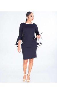 Shelby & Palmer ROMINA- Crepe Dress Contrast Drama Sleeves