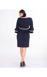 Shelby & Palmer ROMANA-V-Neck Dress With Contrast Trim
