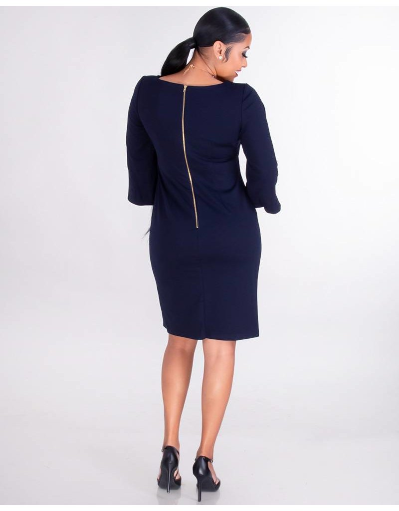 Shelby & Palmer ROKSANA-Cold Shoulder Dress With Pearls