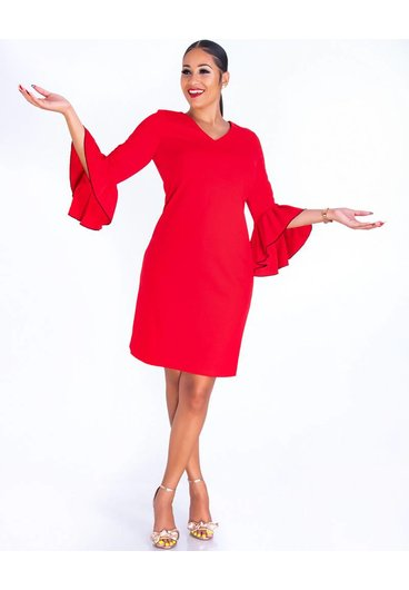 ROSAMEL- V-Neck Crepe Dress with Pleated 3/4 Sleeves