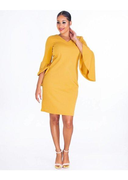 ROSALIND-3/4 Sleeve V-neck Crepe Dress