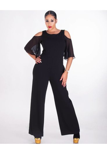 RADKA-Cold Shoulder Jumpsuit With Chiffon Sleeves