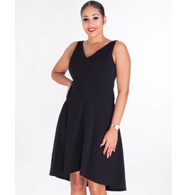 RESEDA- V-Neck Crepe Fit And Flare Dress