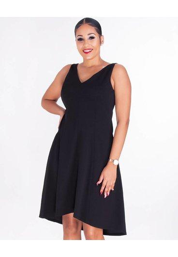 RESEDA- V-Neck Crepe Fit And Flare Dress