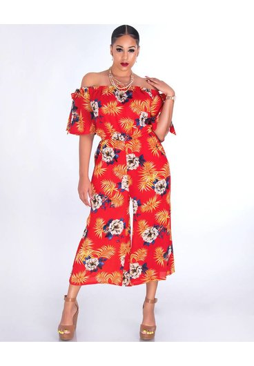 FAIRFAX-Floral Off Shoulder Chiffon Jumpsuit