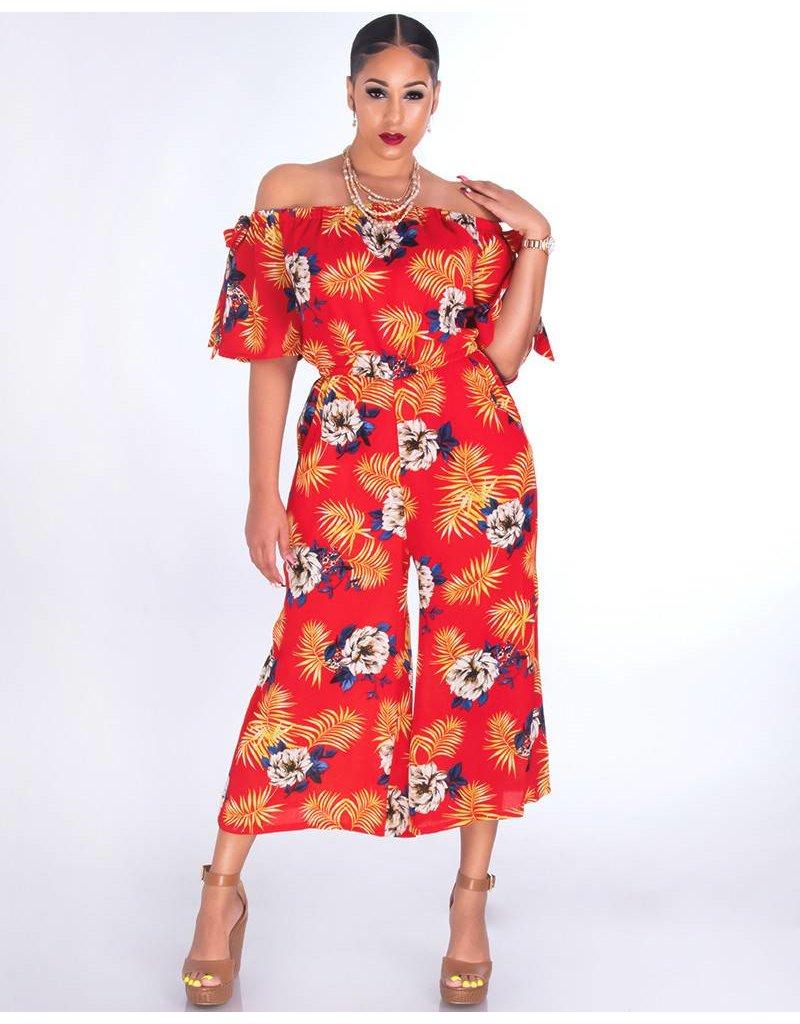 FAIRFAX-Floral Off Shoulder Chiffon Jumpsuit