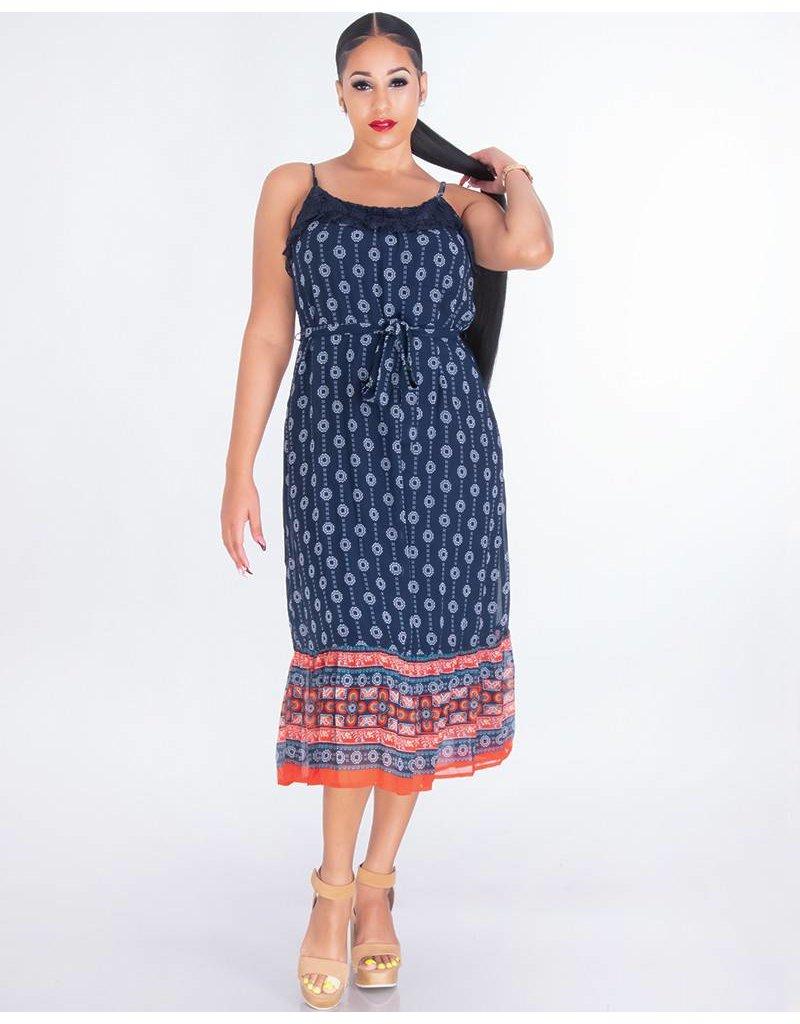 FAREEDA- Printed Spaghetti Strap Dress With Crochet Neckline