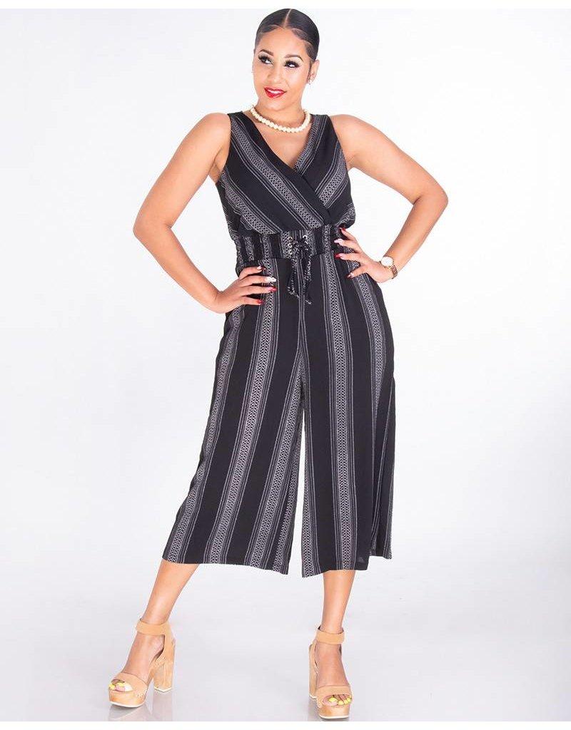 RAVIVA- Sleeveless Crossover Crepe Jumpsuit With Elastic Waist