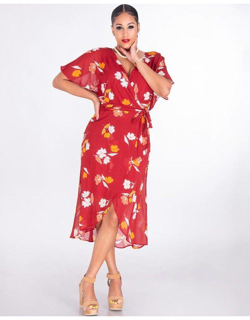 FARRIS-Floral Faux Wrap Chiffon Dress