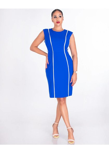 Shelby & Palmer RUPA-Sleeveless Crepe Dress With Contrast Trim