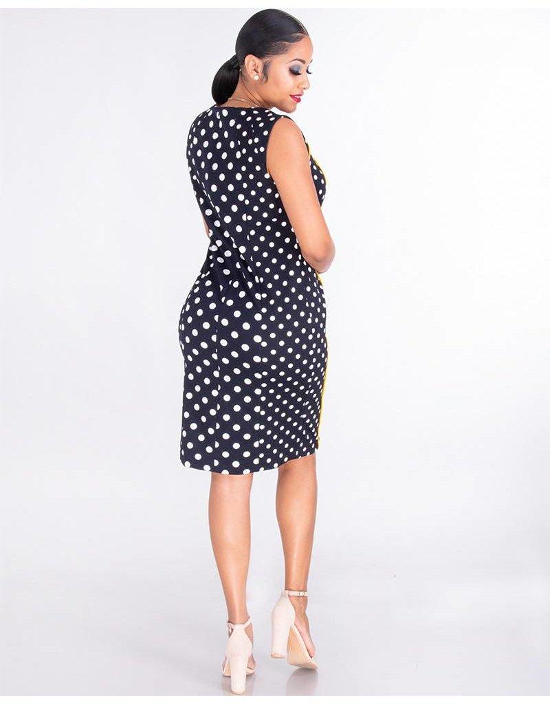 Shelby & Palmer RUPA-Sleeveless Crepe Polka Dot Dress With Contrast Trim