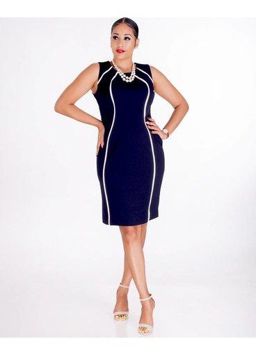 Shelby & Palmer RUPILA- Sleeveless Crepe Dress With Contrast Trim
