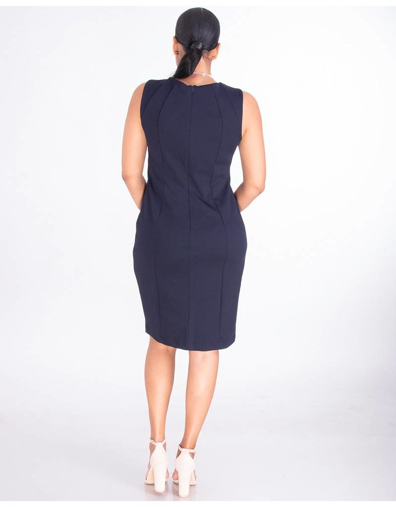 Shelby & Palmer RUPILA- Sleeveless Crepe Dress With Contrast Trim