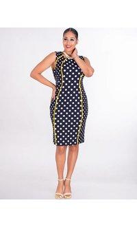 Shelby & Palmer RUPILA- Sleeveless Crepe Polka Dot Dress With Contrast Trim
