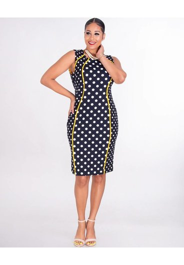 Shelby & Palmer RUPILA- Sleeveless Crepe Polka Dot Dress With Contrast Trim