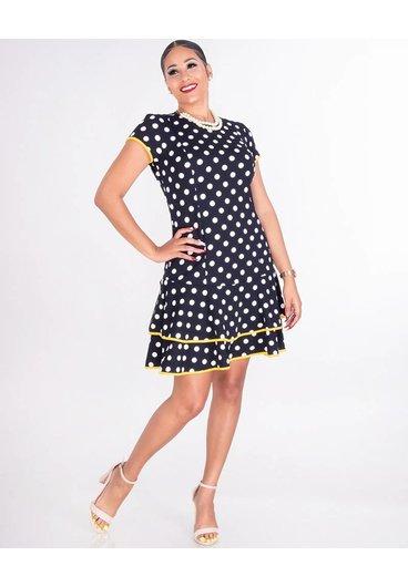 Shelby & Palmer ROMILLY-Short Sleeve Crepe Polka Dot Dress with Ruffle Hem
