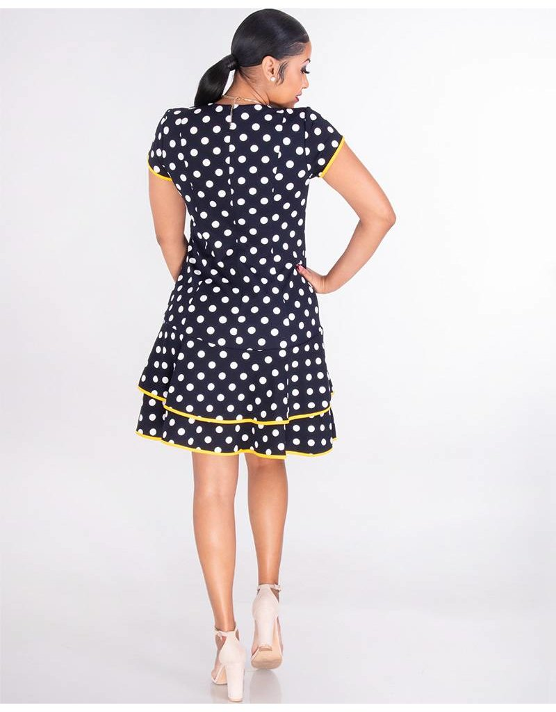 Shelby & Palmer ROMILLY-Short Sleeve Crepe Polka Dot Dress with Ruffle Hem