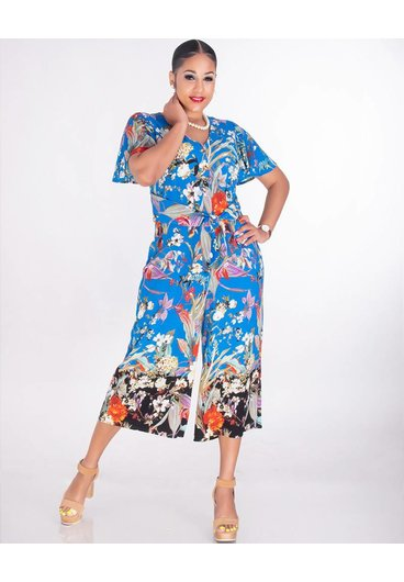 RESHMA- Floral V-Neck Jumpsuit With Band