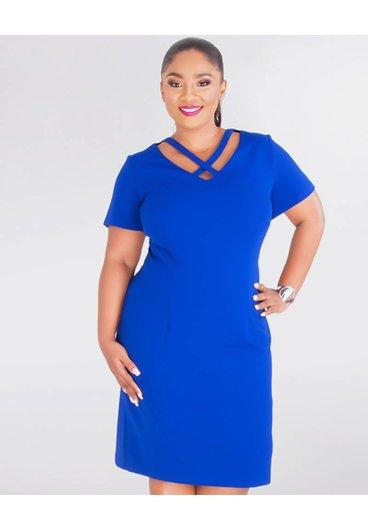 ROXANNE- Plus Size  X Style Crepe Dress