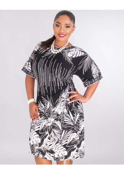 Signature INTIRA- Plus Size Puff Print Short Sleeve Dress