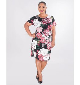 Signature IOLANA- Plus Size Puff Print Faux Wrap Dress