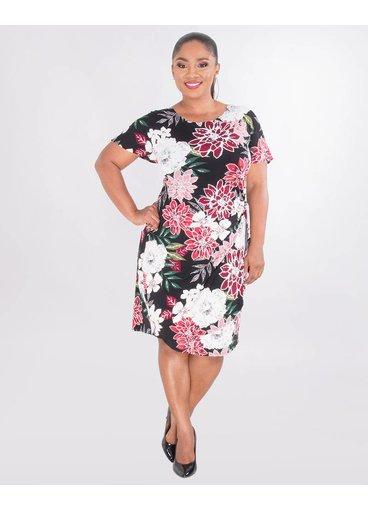 Signature IOLANA- Plus Size Puff Print Faux Wrap Dress